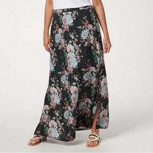 Tolani Regular Printed Pull-On Woven Maxi Skirt